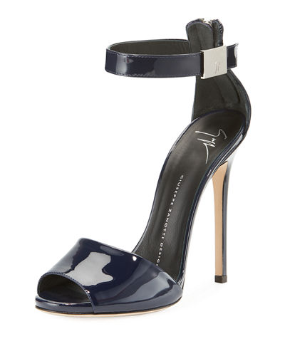 Ankle-Strap Patent Leather Dress Sandal