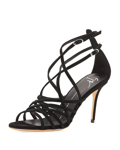 Suede Caged Strappy High Sandal