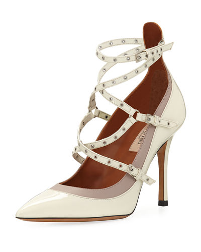 Patent Grommet-Trim Strappy Pump