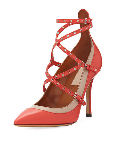 Leather Grommet-Trim Strappy Pump