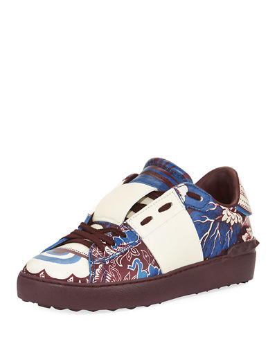 Printed Leather Studded Sneaker