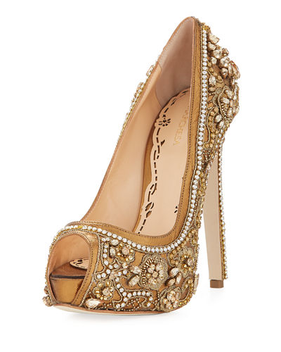 Rose Jeweled Peep-Toe Platform Pump