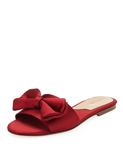 Satin Slipper Sandal with Bow