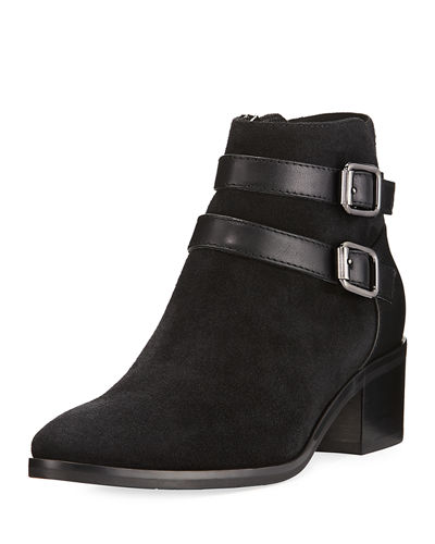 Folly Double-Buckle Suede Bootie