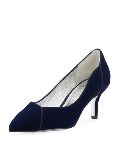 Havana Velvet Point-Toe Kitten-Heel Pump