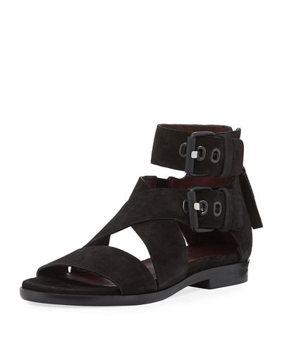 Madeira Suede Ankle-Cuff Flat Sandal