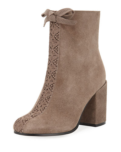 Sadie Lace-Front Suede Bootie