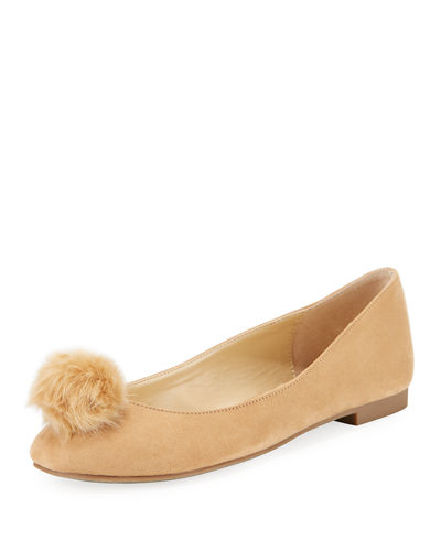 Danni Microsuede® Flat with Pompom