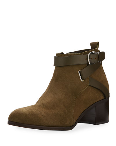 Gianini Leather-Strap Suede Bootie