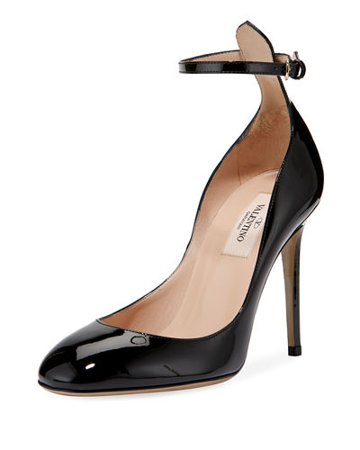 High Ankle-Wrap Patent Leather Pump