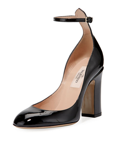 Ankle-Wrap Patent Leather Pump