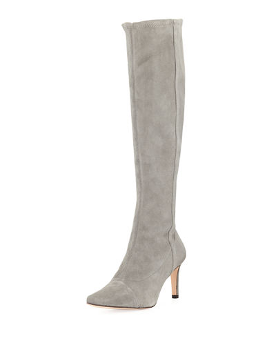 Fitted Stretch-Suede Knee-High Boot