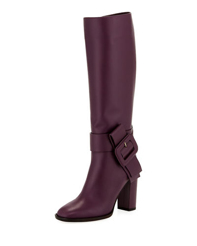 Buckle Calf-High Leather Boot
