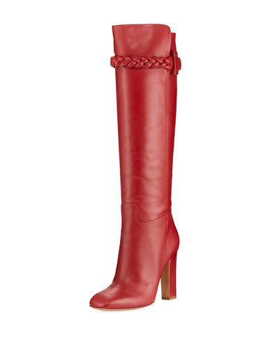 Braided Calf-High Leather Boot