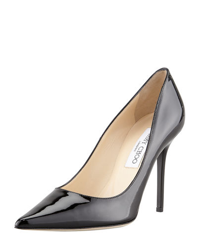 Abel Patent Pointy Pump, Black