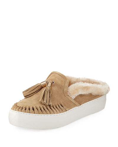 Azul Suede Mule with Faux Fur