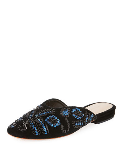 Beaded Sequin Flat Suede Mule