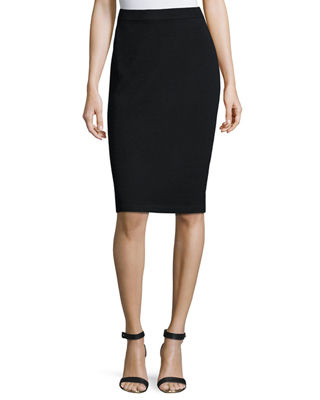 Signature Santana Knit Pencil Skirt, Black