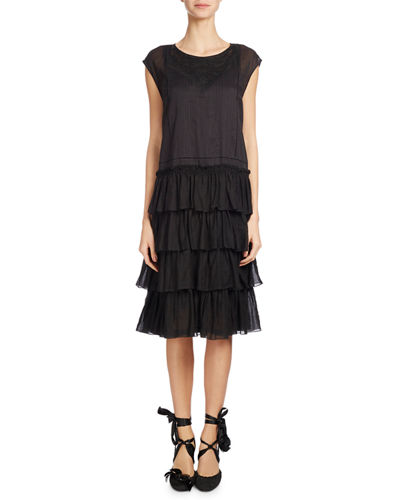 Dines Cap-Sleeve Tiered Dress