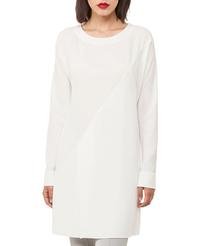 Akris Crewneck Long-Sleeve Asymmetric-Seams Silk-Crepe Tunic
