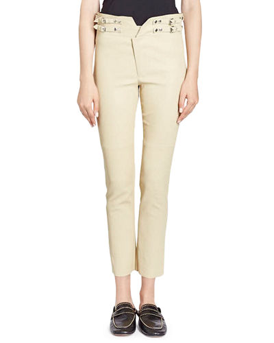 Isabel Marant Preydie Skinny Lamb Leather Pants with
