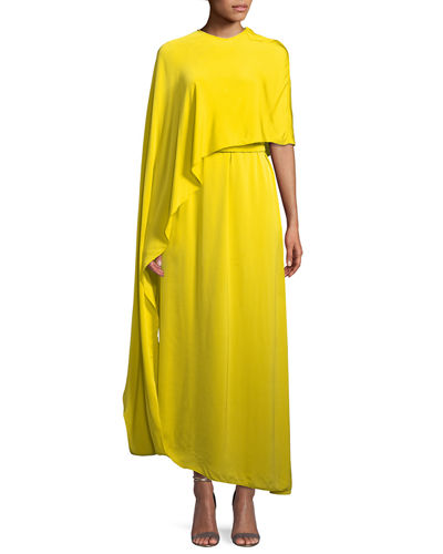 185e5a4faca Stella McCartney One Side Long Cape Belted Jersey Evening Gown