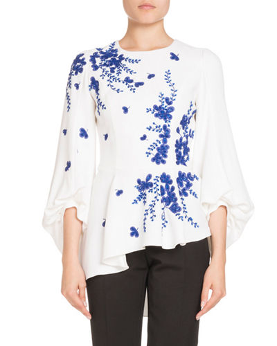Andrew Gn Embroidered Blouson-Sleeve Top