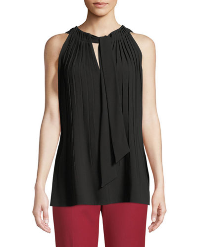 Escada Sleeveless Tie-Front Plisse Blouse