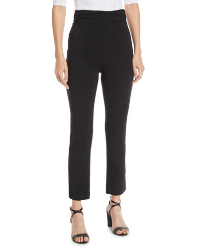 Ruched-Waist Fitted Skinny-Leg Liquid Cady Pants