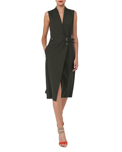 Akris V-Neck Sleeveless Wrap-Style Cotton-Silk Coat Dress