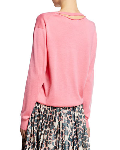 Long-Sleeve V-Neck Cashmere Silk Sweater