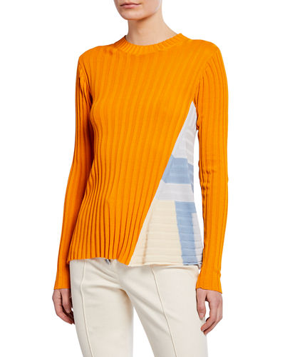Godet-Panel Ribbed Sweater