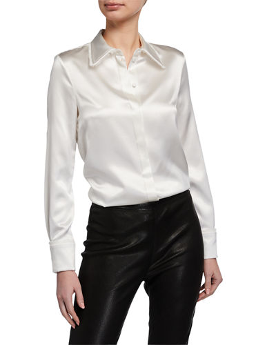 Silk Frayed Button-Front Shirt