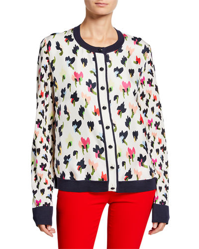 Golden-Button Front  Abstract Floral-Print Cardigan