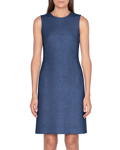 Linen-Cotton Skimmer Dress