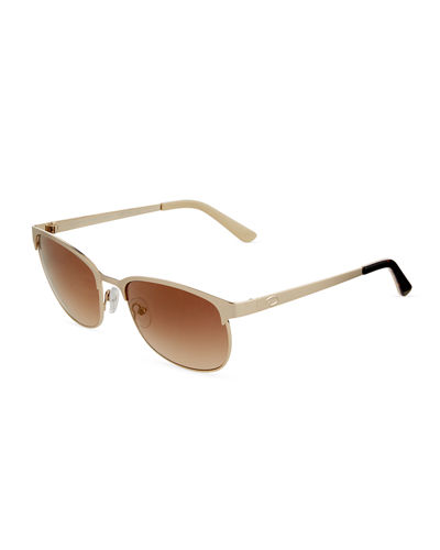 Oval Two-Tone Metal Sunglasses