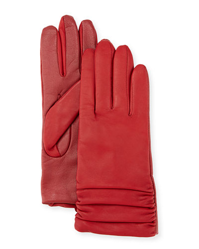 Ruched Leather Tech Gloves