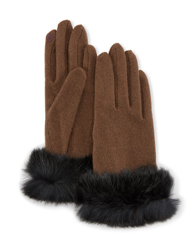 Fur-Cuff Knit Tech Gloves, Off Wine/Brown