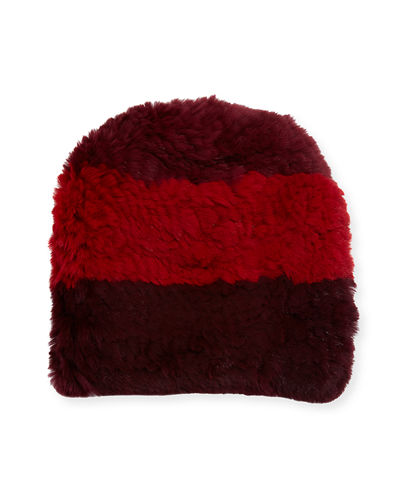 Knitted Rabbit Fur Beanie Hat