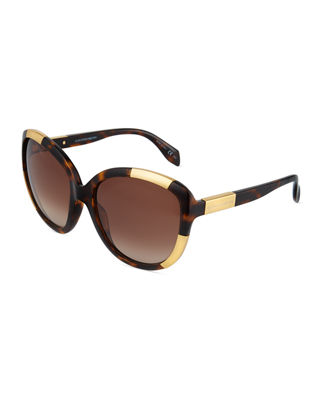 ALEXANDER MCQUEEN OVERSIZED TWO-TONE PLASTIC SUNGLASSES, ORANGE