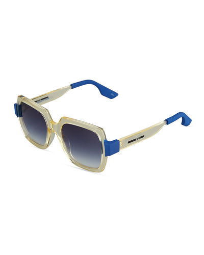 Two-Tone Square Plastic Sunglasses, Yellow/Blue