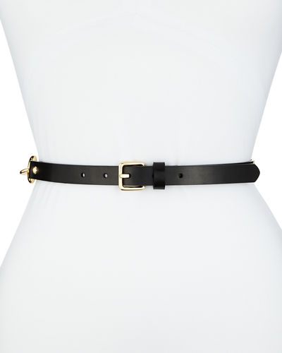 Leather Belt w/ Lacing and Stud Details