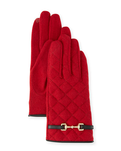 Wool-Blend Quilted Gloves