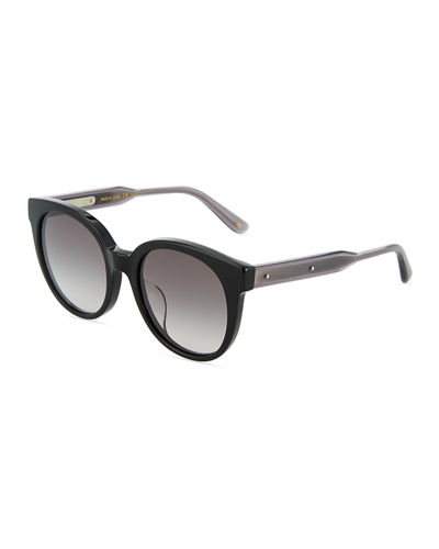Two-Tone Round Havana Plastic Sunglasses