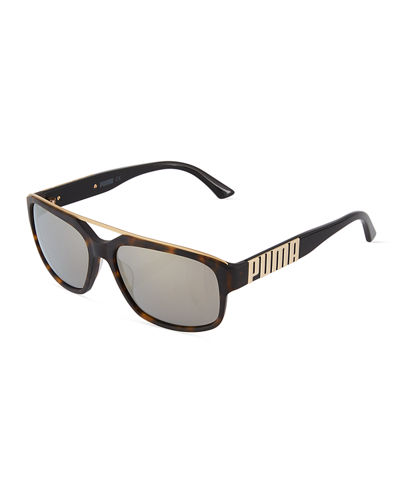 Rectangle Plastic Sunglasses w/ Mirror Lenses