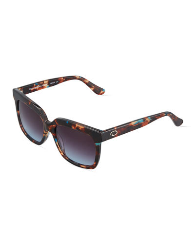 Duo-Tone Square Plastic Sunglasses