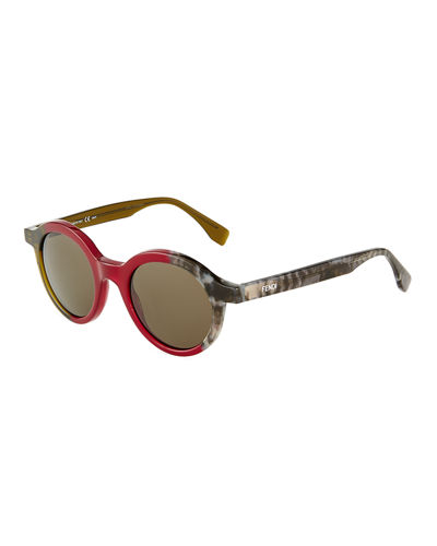 Two-Tone Round Sunglasses