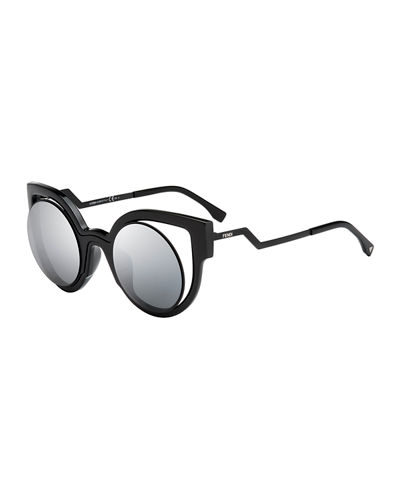 Paradeyes Open-Inset Round Cat-Eye Sunglasses