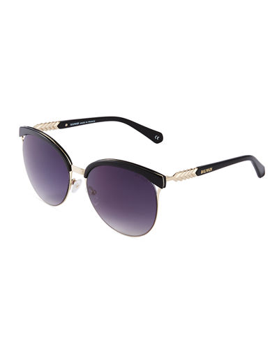 Two-Tone Cat-Eye Plastic Sunglasses