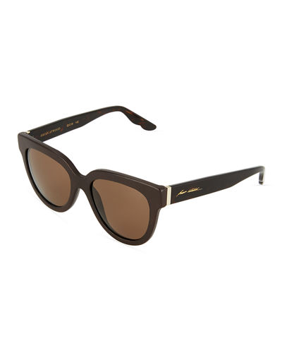 Leather-Trim Plastic Square Sunglasses